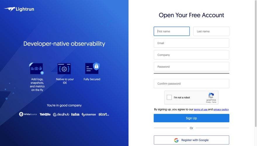 Signup Page on app.lightrun.com