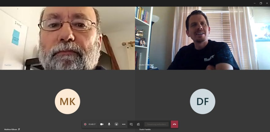 Fred Zuill and Austin Chadwick on a screenshot during our group learning session.