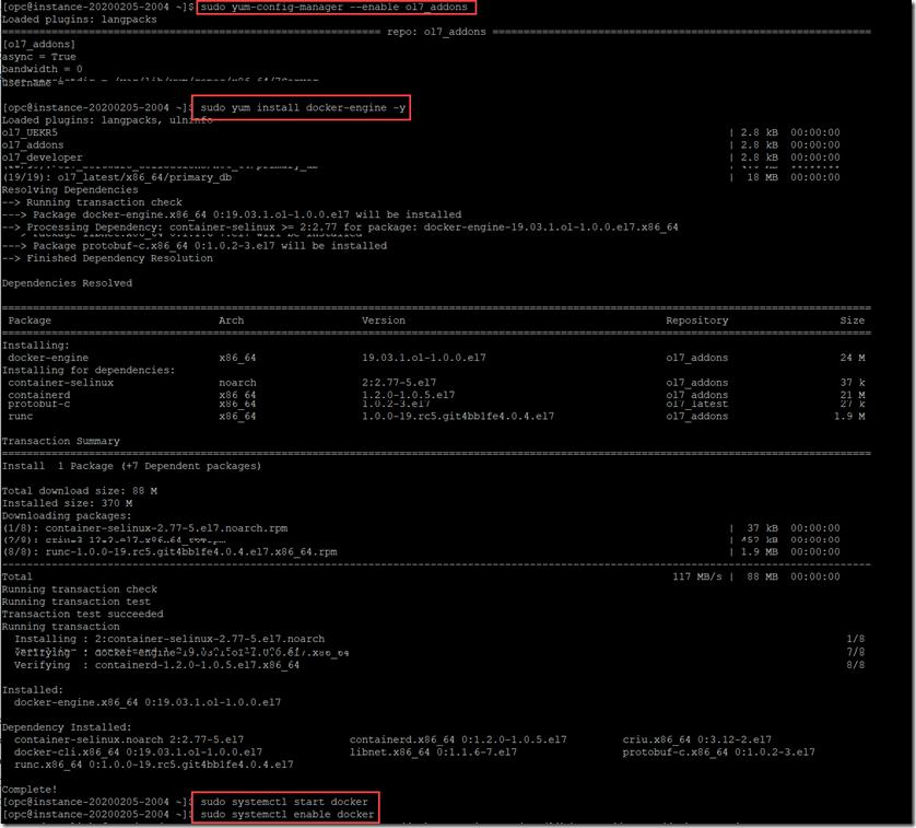 Docker installation screenshot from [Oracle Developer Blog](https://medium.com/oracledevs/run-always-free-docker-container-on-oracle-cloud-infrastructure-c88e36b65610)
