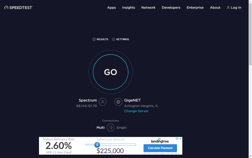 Screenshot of speedtest.net without ads blocked.