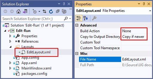 Create xml file to save the layouts