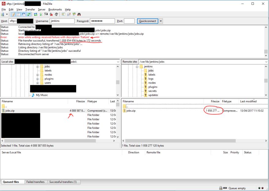 Filezilla Upload Error Window