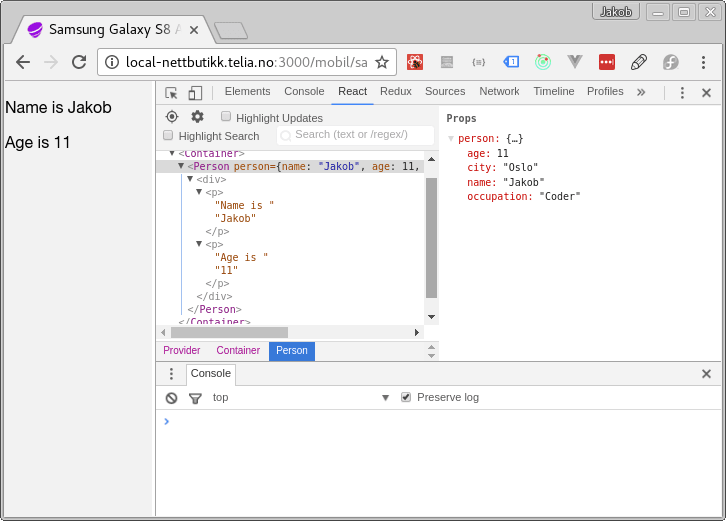 Inspect data with React devtools