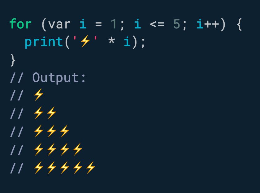 Did you know? Dart supports string multiplication.