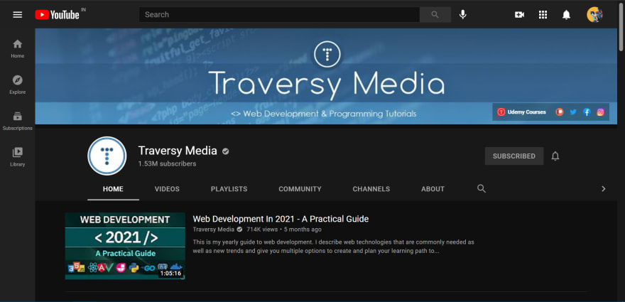Traversy Media's Channel Page on YouTube