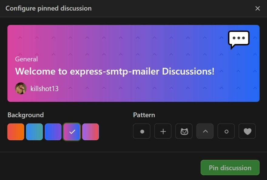 Customization options for pinned Discussions