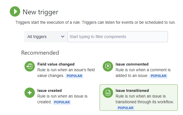 Available Jira automation trigger types
