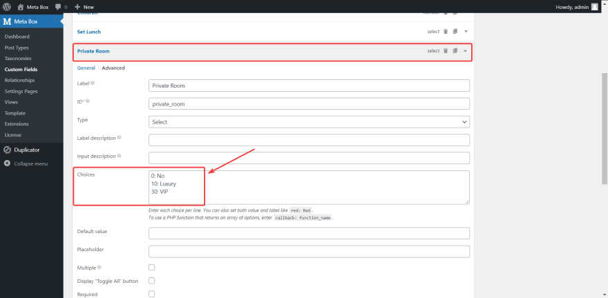 set options with the values for the custom fields of choosing a private room