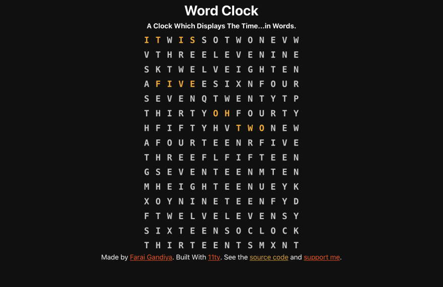 "The header with the words word clock and a description ""a clock which displays the time… in words"", a letter grid saying ""it is five oh two"" in orange and the site footer"
