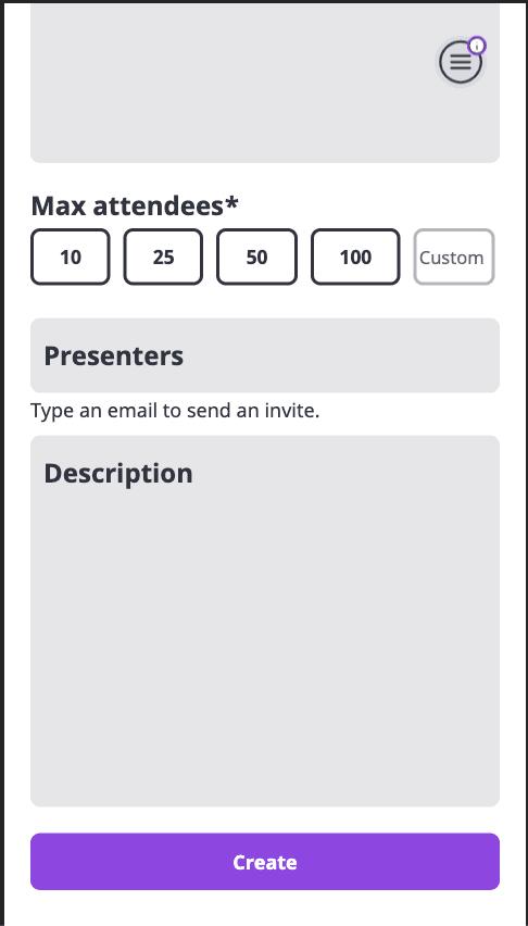 Partial screenshot of creating an event