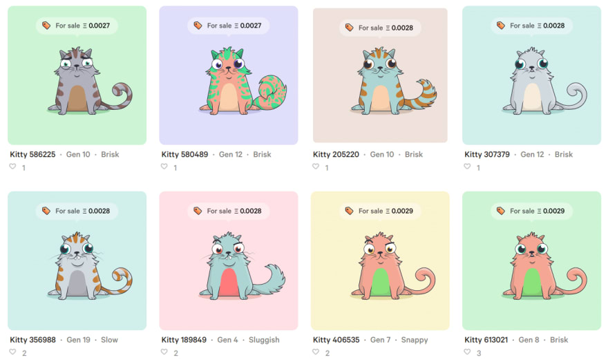 CryptoKitties - digital cat collectibles