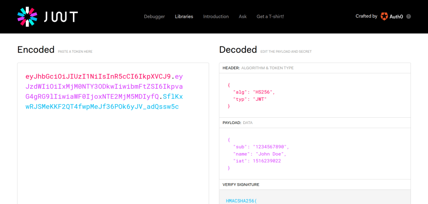 Screenshot of the JWT.io debugger tool, with default values