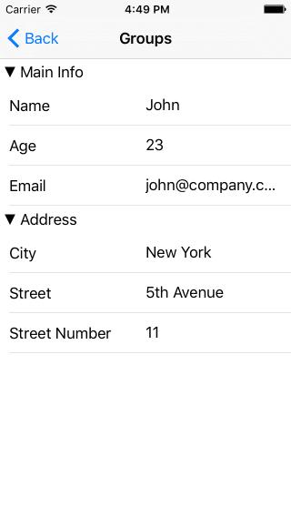 iOS Groups example