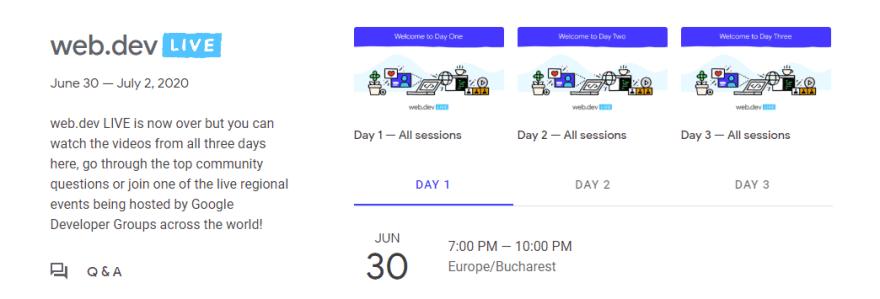 Web Dev Live 2020 schedule header