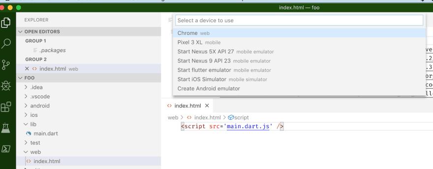 Flutter Web in VS Code