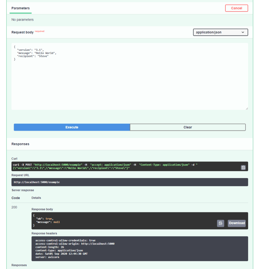 Trying out the endpoint directly from the browser