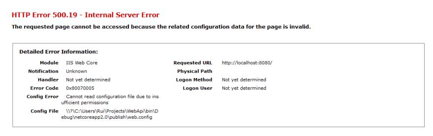 IIS permissions error
