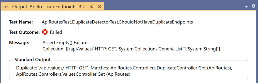 Using a unit test to detect duplicate endpoints