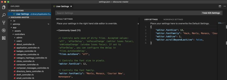 Configuration in Visual Studio Code