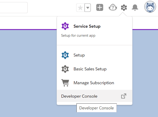 Open the Developer console option from the settings