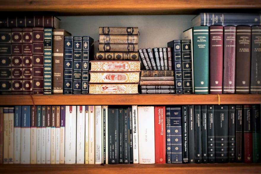 A filled bookshelf
