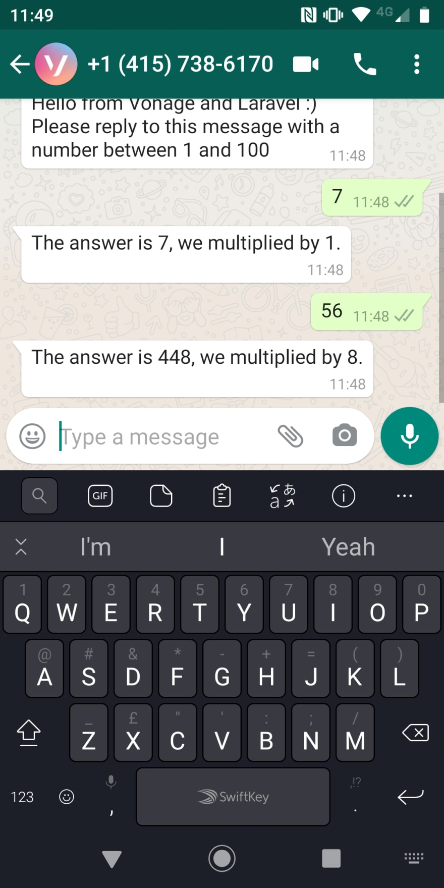 Screenshot of the messages between user and application in whatsapp on a mobile phone