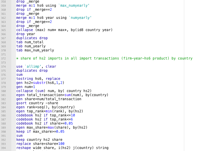 Some of the 4569 lines of code in a single script