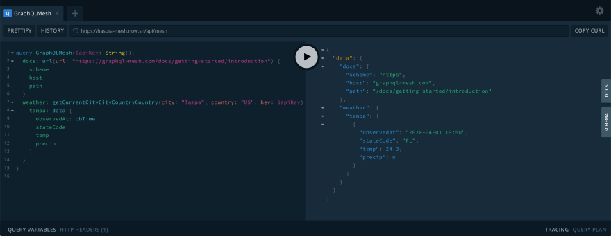 Screenshot of GraphQL Playground with validation query and response