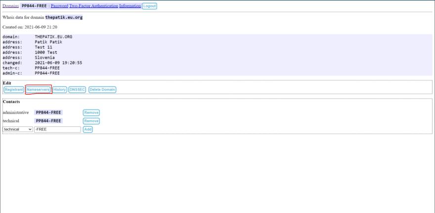 Update DNS nameserver - stap 1