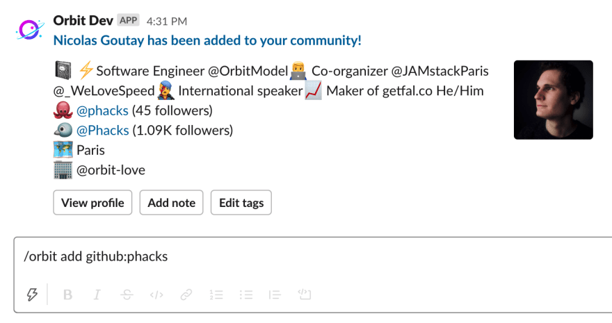 The command /orbit add github:phacks added a new member to our Orbit community