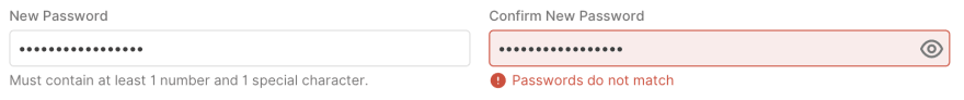 A password field with help text underneath the input box and an invalid password field with an error message