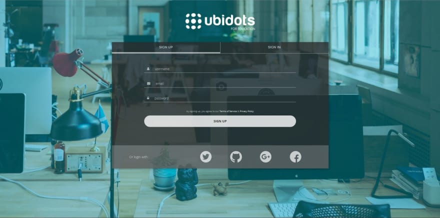Ubidots sign up website