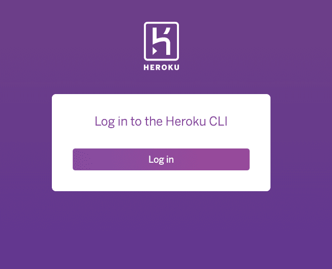 screenshot of initial web browser heroku login