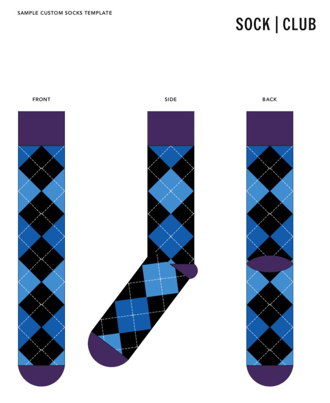 Sock Club's mockup or sample custom socks template