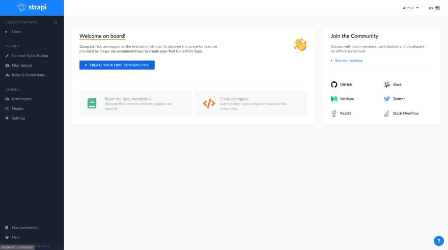 Strapi admin home page