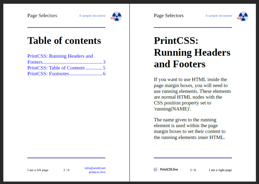 Left and right pages