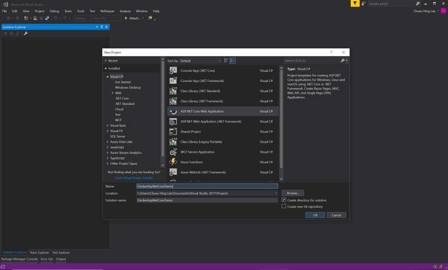 docker demo visual studio project
