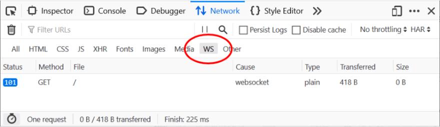 WebSocket Inspector panel in Firefox DevTools