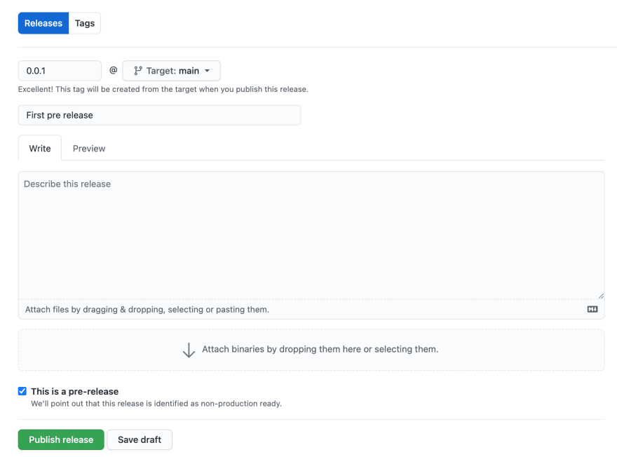 Form to create pre-release