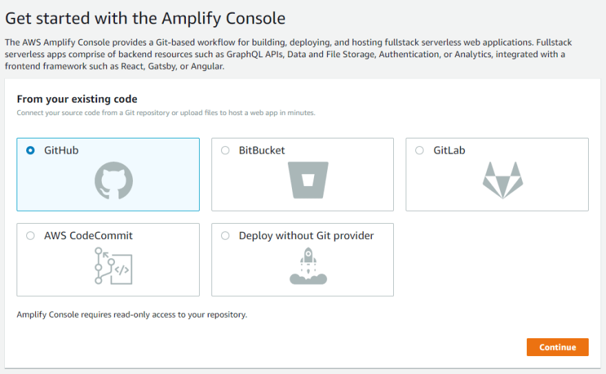Amplify new project wizard