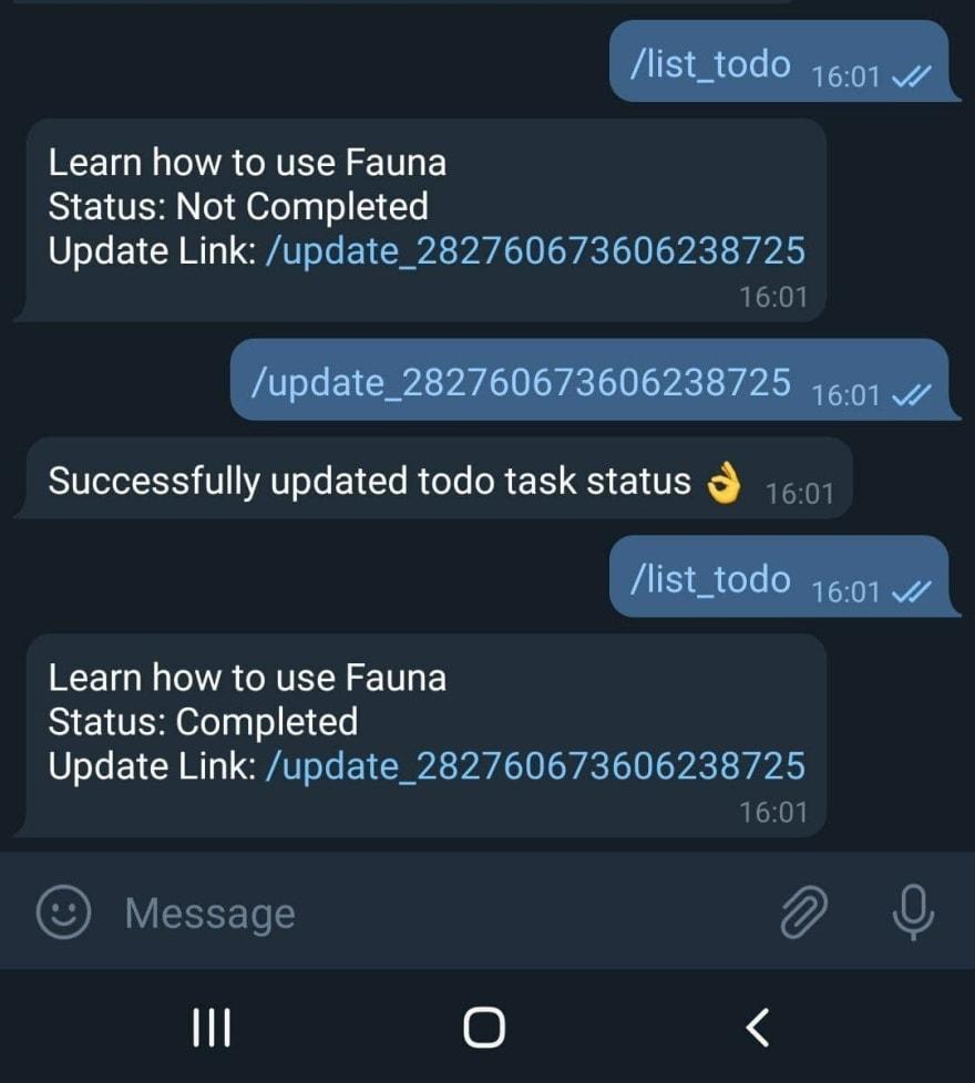 update todo task