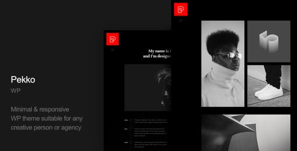 Pekko Minimal Portfolio dark WP theme