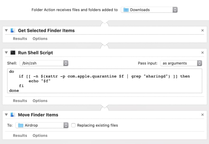 Automator interface, showing a Folder Action containing three actions: Get Selected Finder Items, Run Shell Script, and Move Finder Items
