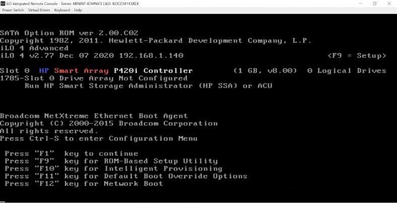 install ESXI 7 to the server HP ProLiant DL380p