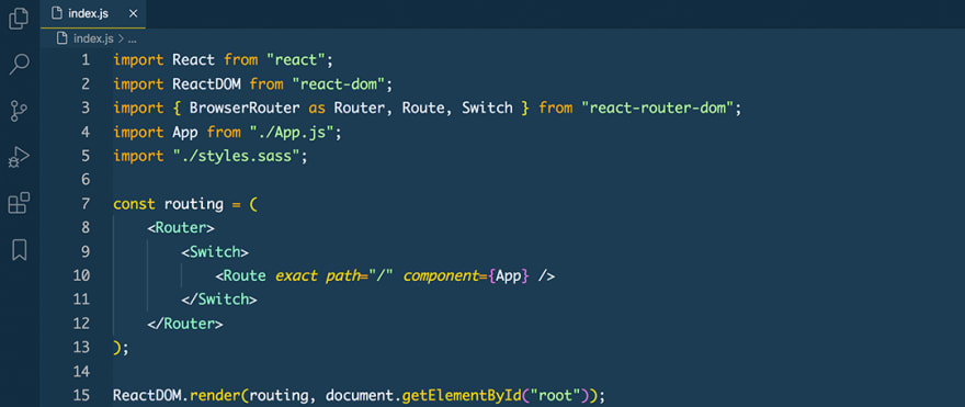 React code snippet with the Cobalt 2 theme