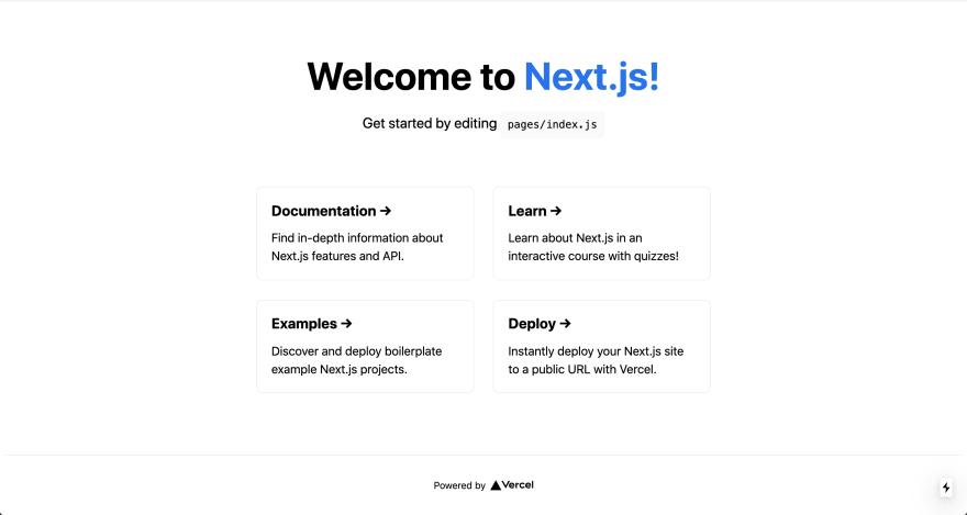 Starter page from NextJs