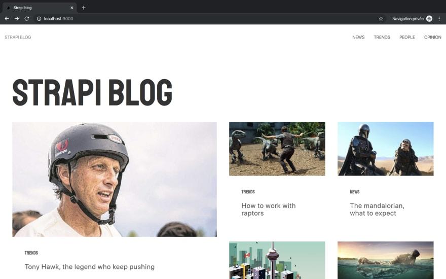 Strapi Blog NextJS homepage
