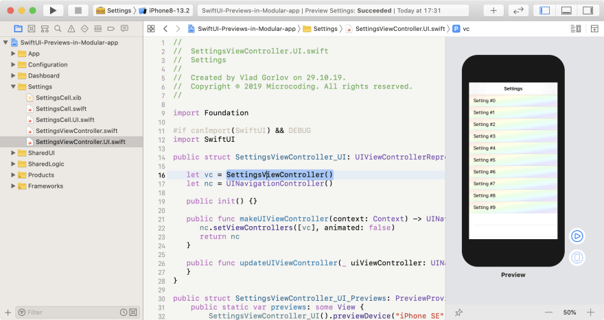 SwiftUI preview for Controller