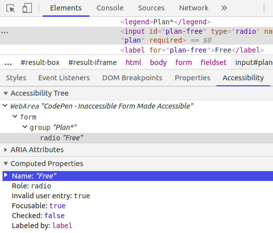 "Chrome DevTools Accessibility pane screenshot showing radio button has name of ""Free"" from <label>"