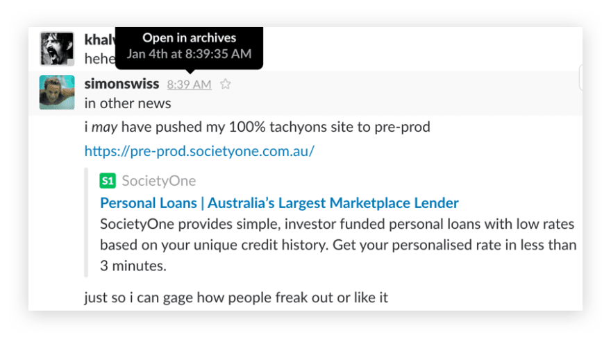 Snippet of slack discussion showing when I pushed the new site to pre-prod